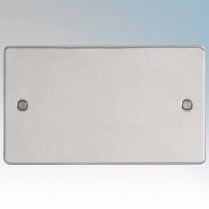 BG Electrical SBS95 Nexus Brushed Steel Screwed Flat Plate 2 Gang Blank Plate