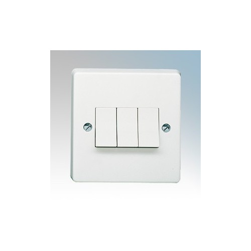 Crabtree 4173 Capital White Moulded 3 Gang 2 Way Single Pole Plateswitch 10Ax