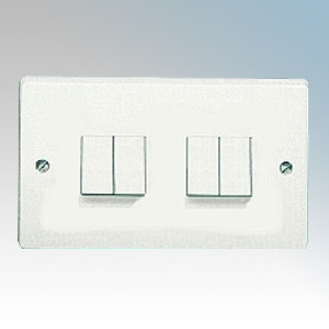 Crabtree 4174 Capital White Moulded 4 Gang 2 Way Single Pole Plateswitch 10Ax