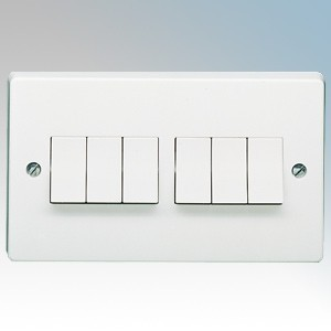 Crabtree 4176 Capital White Moulded 6 Gang 2 Way Single Pole Plateswitch 10Ax