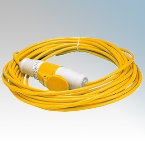 Briticent SE14EL1.5Y Yellow 1.5mm Arctic Cable Site Extension Lead With 16A Plug & Connector Lead 14m 110V