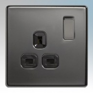 BG Nexus Black Nickel Screwless Flat Plate Socket Outlets