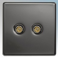 BG Nexus Black Nickel Screwless Flat Plate TV & Telephone Outlets