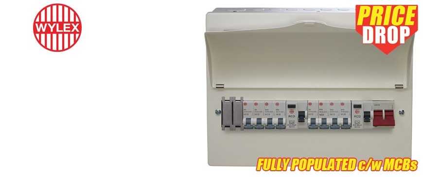 WYLEX 18th Edition Pre-Populated Twin RCD Consumer Units with MCBs