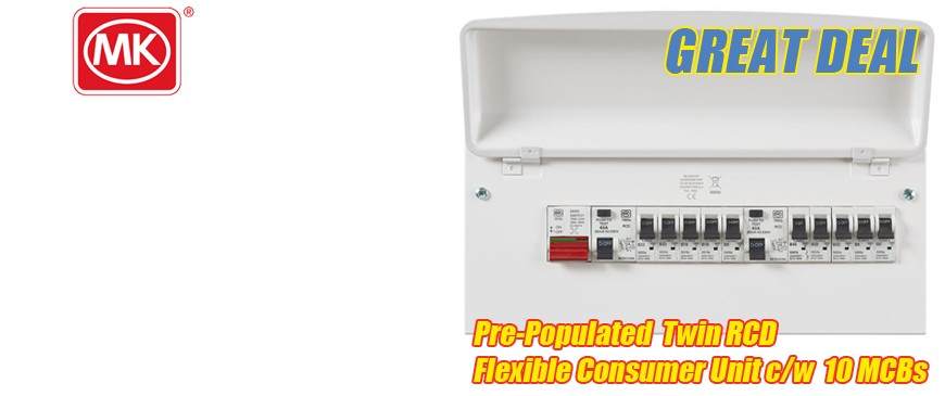 MK Sentry Y7666SMET Pre-Populated Consumer Unit